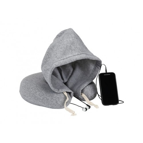 1 Voice Travel Neck Pillow with Hood and Ear Buds